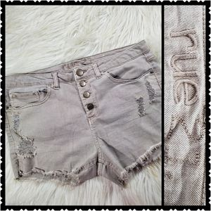 Rue 21 Booty Shorts tan distressed butterfly 11/12